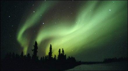 The Aurora Borealis in the sky above Fairbanks, Alaska