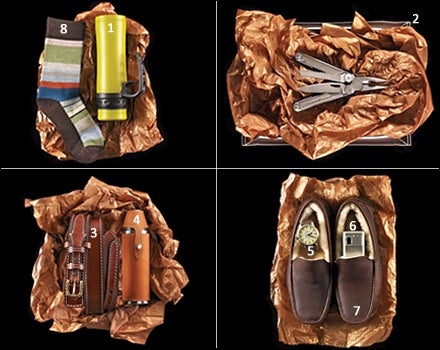 Innate Kaze Modular Vacuum Bottle, Leatherman Wave, Eddie Bauer Ranger Belt, Mulholland Sportsman's Flask,  Nixon Chronicle, Casio Exilim Mobile, UGG Ascot, Smartwool socks