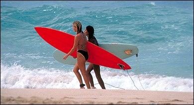 Taking a break from the Brazilian surf