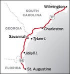 Wilmington, NC to St. Augustine, FL Road Trip Map
