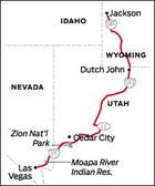 Jackson, WY to Las Vegas, NV Road Trip Map