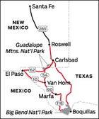 Santa Fe, NM to Texas Road Trip Map