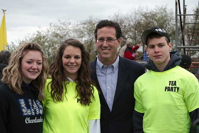 Rick Santorum with Tea Party volunteers