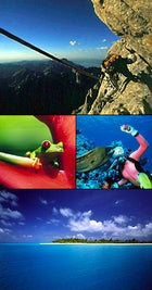 """It's just a step to the left: climbing """"The Crawl,"""" Grand Teton Wyoming; Red-eyed tree frog, Costa Rica; moray eel, Great Barrier Reef, Australia; Rangiroa Atoll, Tahiti"""