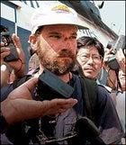 Jon Krakauer speaking to reporters in Kathmandu, Nepal, May 16, 1996.