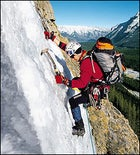 This way up: Will Gadd tracks his way up Cascade Waterfall in Banff National Park, Alberta.