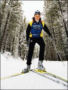 Drive, then glide: U.S. national cross-country team member Nina Kemppel perfects her ski-ski technique.