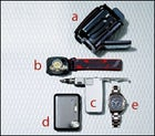 JVC's Everio GZ-MG30 Video Camera, Black Diamond's Spot Headlamp, Bakoda's Bentley Snowboard Multitool, Konica Minolta's DIMage X1 Digital Camera, and Swiss Army's Ground Force 60/60 Chrono Watch