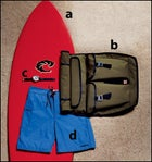 Wave Riding Vehicles Original Fish Surf Board, Chrome's Ivan Bag, Timex's Expedition E-Tide and Temp Watch, and Patagonia's Minimalist Board Shorts