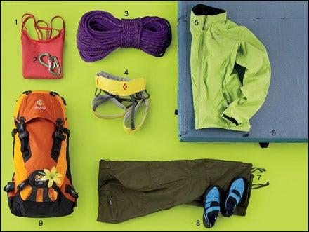 Women's rock climbing gear