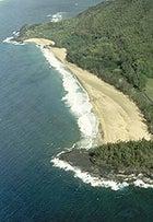 An aerial view of Kauai's Hanalie Bay