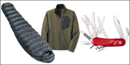 Marmot Hydrogen +30 sleeping bag, REI Mistral Jacket, and Wenger Evo S52 Swiss Army Knife