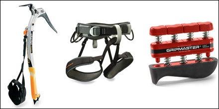 Petzl Quark Ice Tool, Black Diamond Chaos Harness, and Grip Master Hand Strengthener