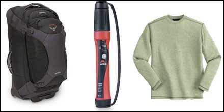 Osprey Meridian Wheeled Convertible Pack, MSR Miox Purifier, and Ex Officio Buzz Off ExO Dri Long-Sleeved Crew Shirt