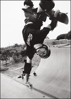 The business of play: Hawk sticks an inverted hand plant at his private test lab in Oceanside, California.