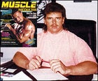 Phillips at Mile High Publishing, circa 1992; inset, the debut issue of Muscle Media 2000