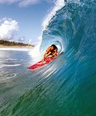 Recharge: pulling into a tube at Salsipuedes beach near Isabela, Puerto Rico