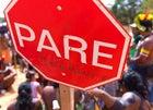 A stop sign implicates the Belo Monte dam