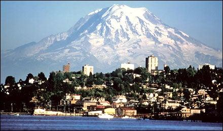 Mount Rainier rises over Tacoma, Washington
