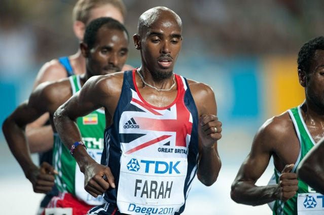 Mo Farah en route to a silver medal at the 2011 World Championships in Daegu, South Korea