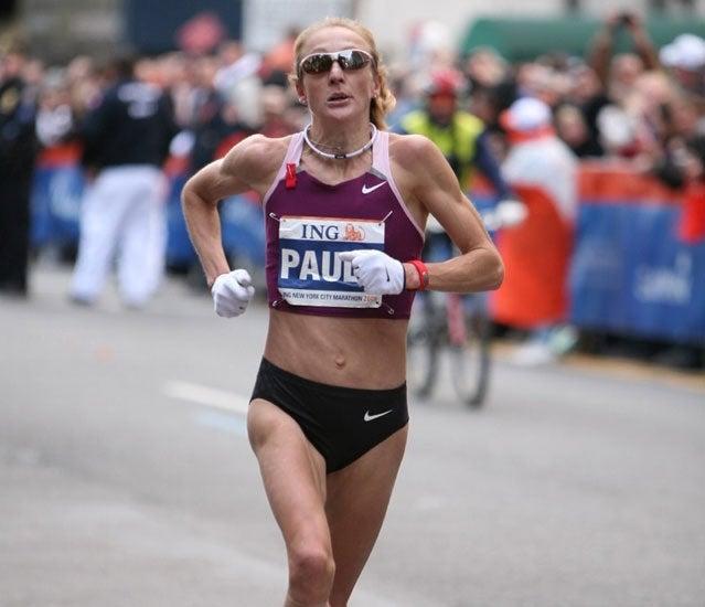 Paula Radcliffe wins the New York City Marathon in 2008