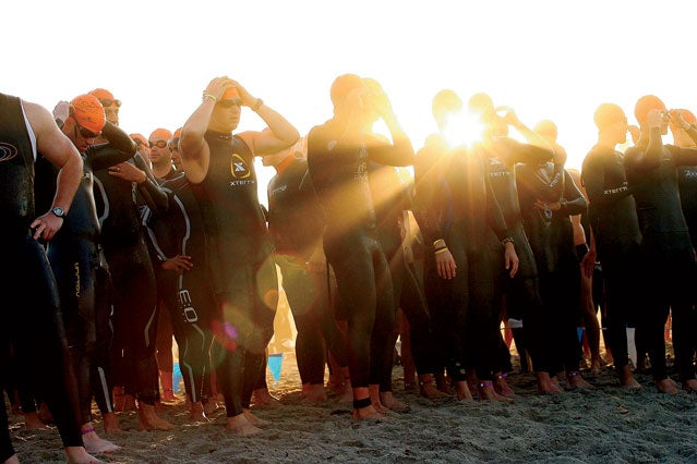 The start of the Nautica Malibu Triathlon