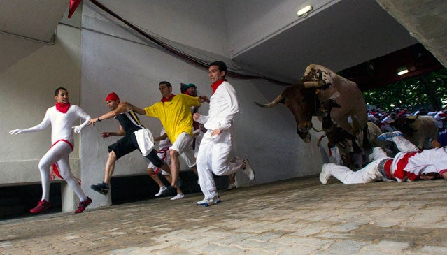 Leaping bull in Pamplona