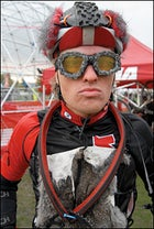 A racer at Portland's 2009 Single Speed Cyclocross World Championships