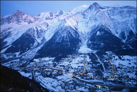 Chamonix Valley, Les Houches Village, and Mont Blanc