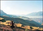High lonesome: a farmer and her mule near Alamut.