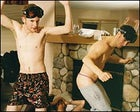 PARTY BOYS: Grant (left) and Drew, doing the Jackass shuffle.
