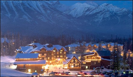 Fernie Alpine Resort at night, British Columbia