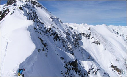 A skier on Pequeno #2 at Silverton Mountain, Colorado