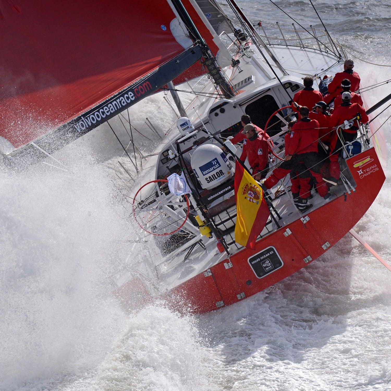 2014-15 onboard OBR Volvo Ocean Race VOR Round Britain and Ireland Race Aerial Volvo Ocean 65 Spanish Team