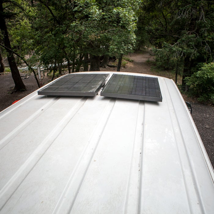 """""""Two 60w solar panels from Goal Zero. They feed into the battery inside, which in turn powers the fridge, lights, and occasionally my laptop."""""""