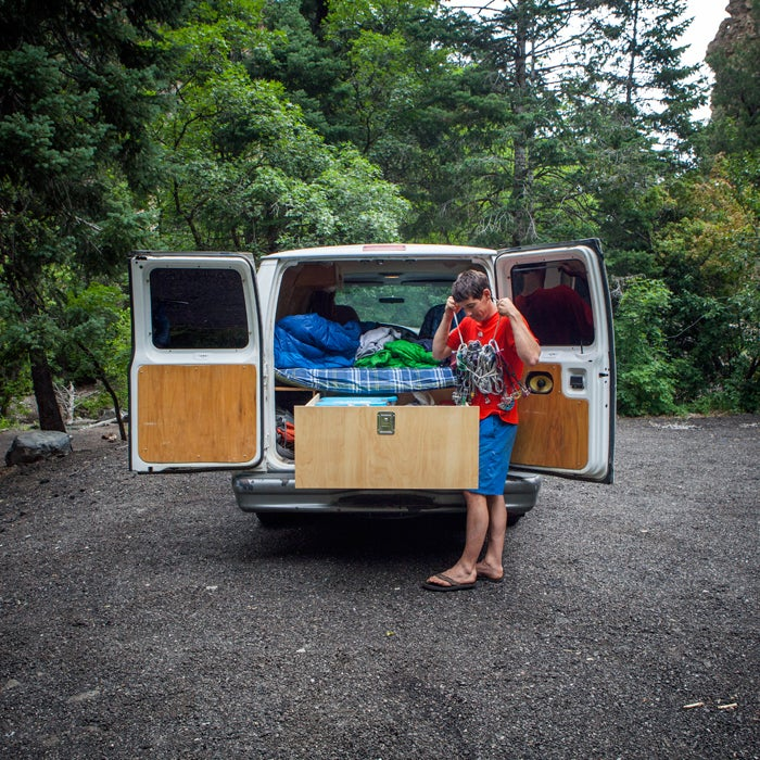 """""""The drawer in the back has the right gear for any adventure. And it's even custom-sized to fit a crash pad. Many a big day has begun with me in the back of the van pawing through gear."""""""