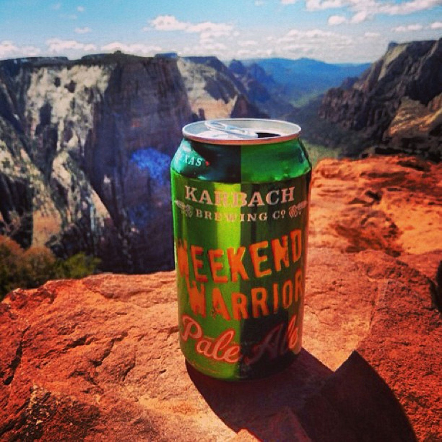 karbach brewing weekend warrior pale ale spring mountain biking outside canned beer