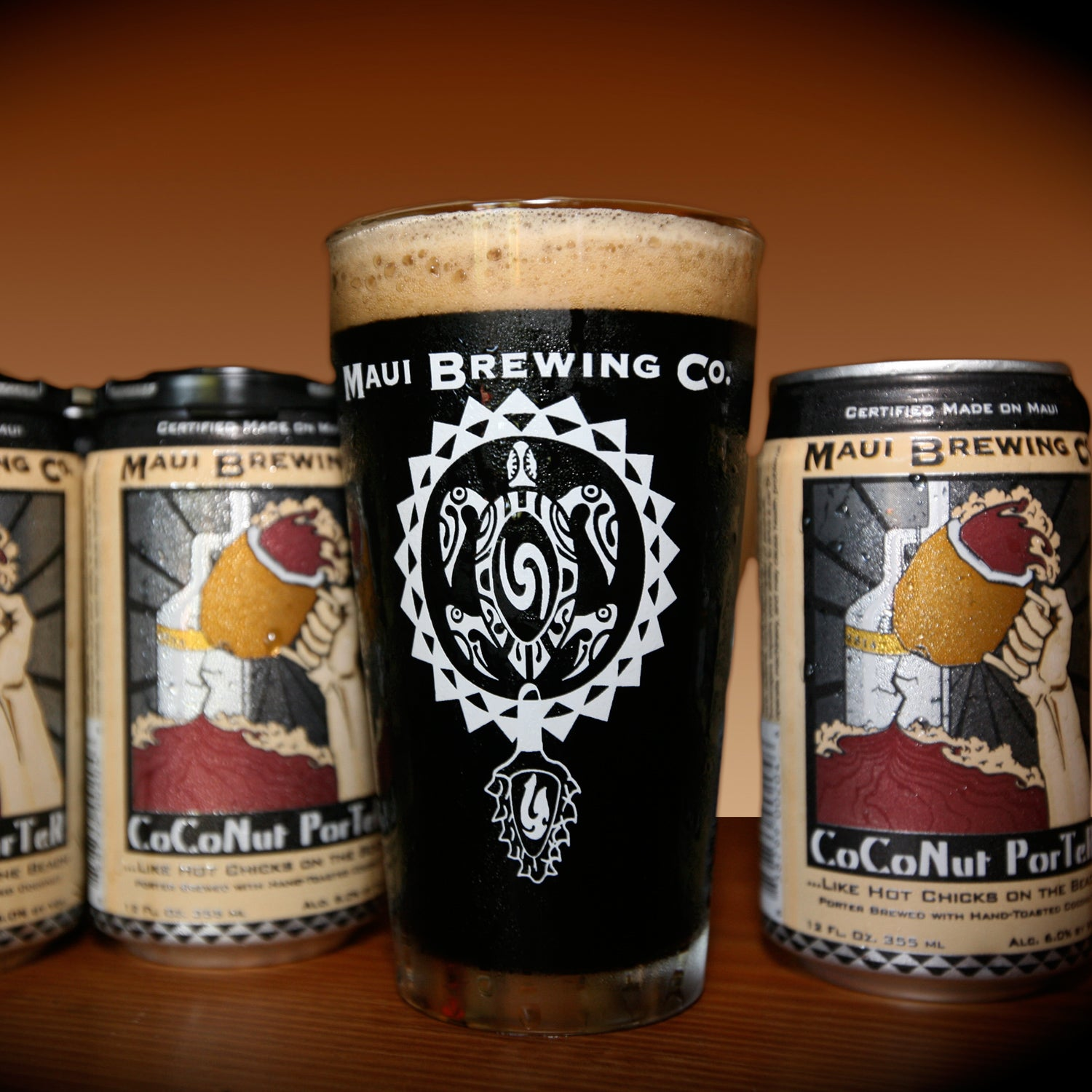 maui brewing coconut porter skiing canned beer outside winter