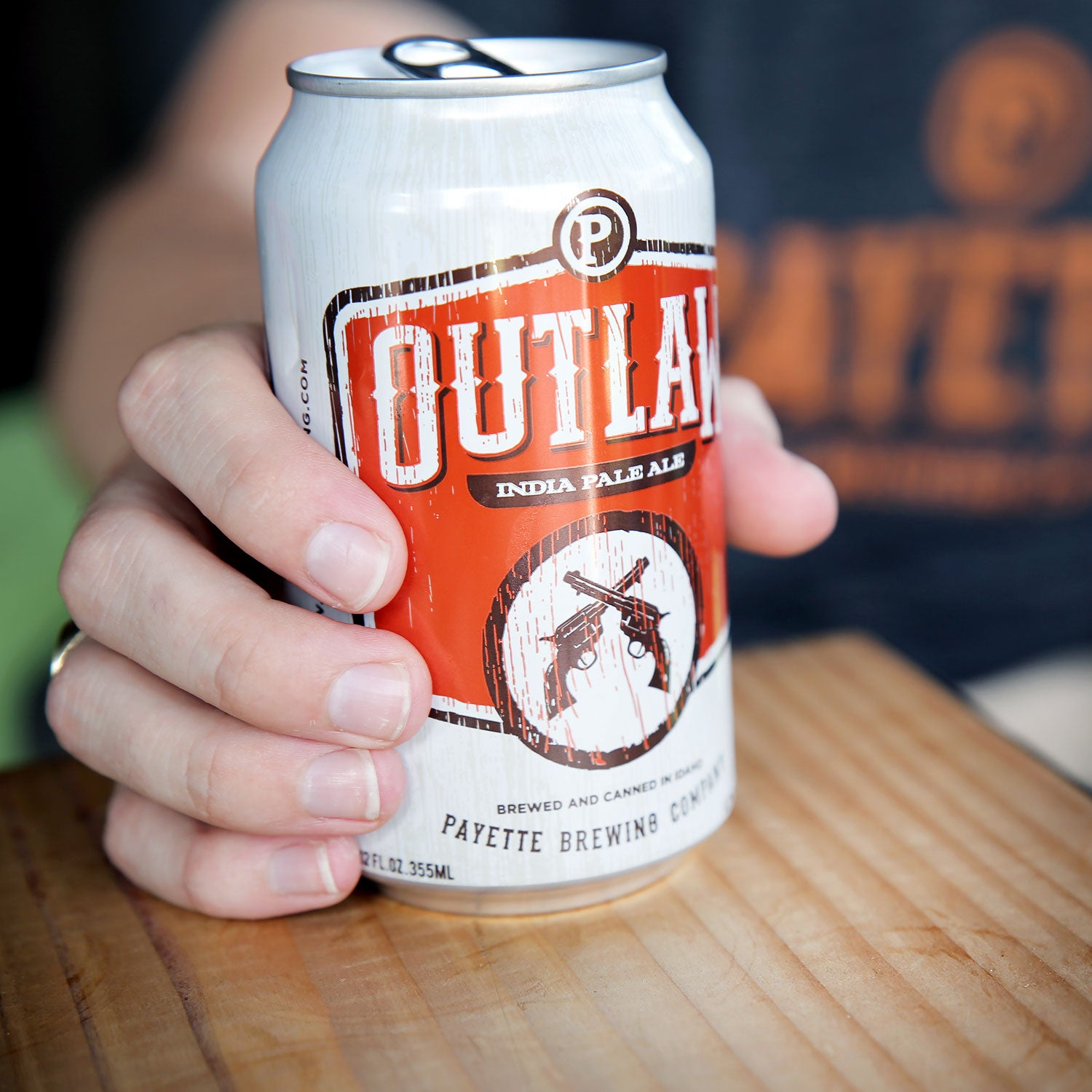 payette brewing outlaw ipa fall hiking or camping canned beer outside
