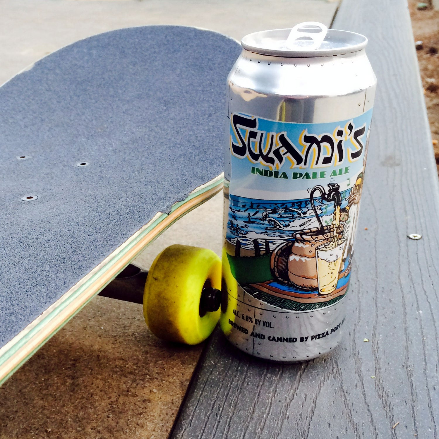 swamis ipa pizza port canned beer outside fall hiking or camping