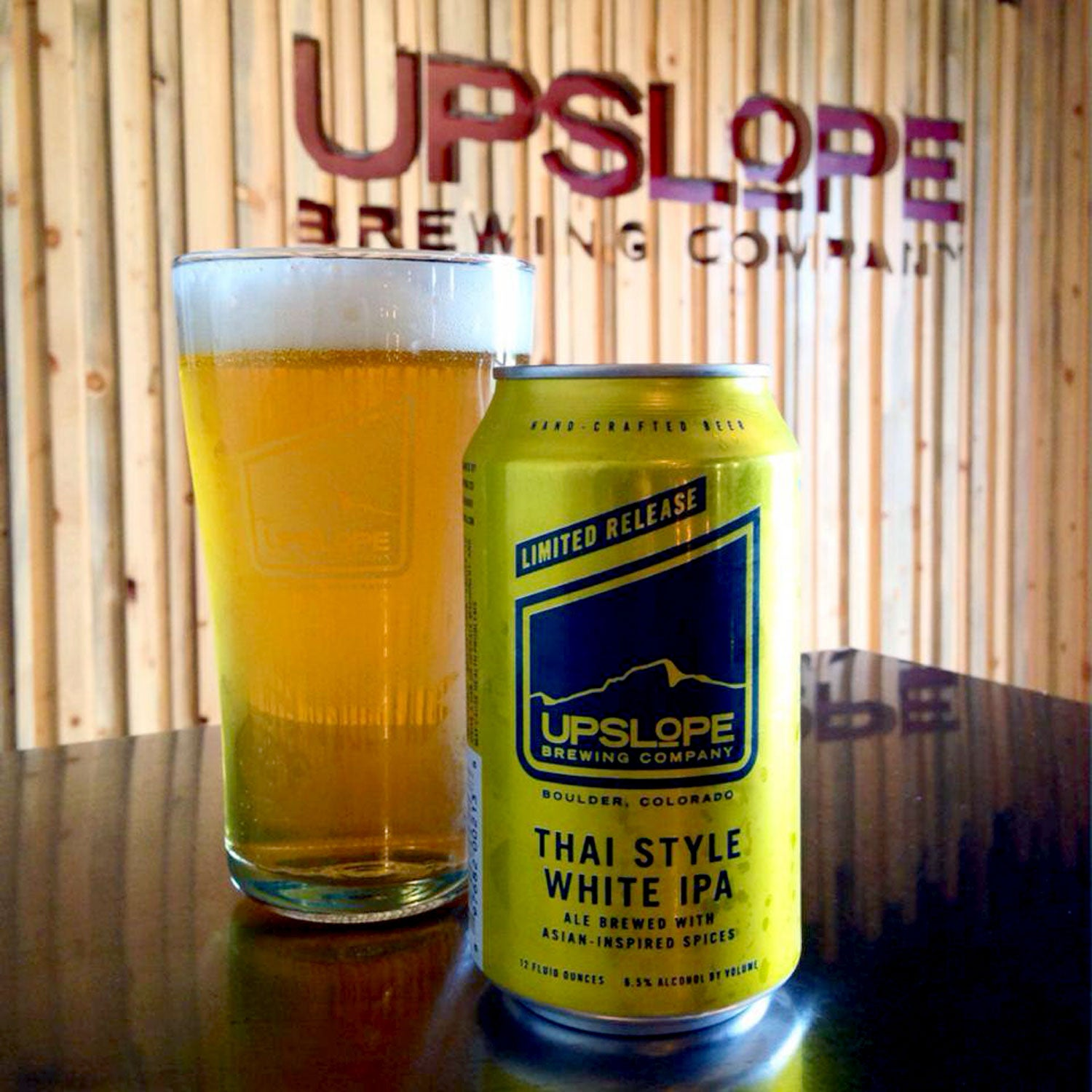 upslope brewing thai style white ipa outside canned beer spring