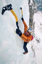 Ueli Steck solo ice-climbing in Switzerland in 2005.