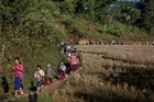 Karen villagers lining up for an FBR medical clinic.