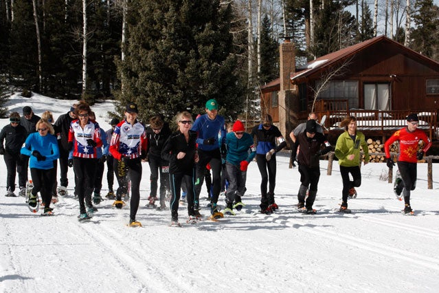 Start of the Low02 Challenge 10K snowshoe race. The top three runners in each age group qualified for the National Championships in Frisco, Colorado.