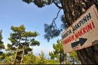Sign for Panagia Makrini Cave Church.