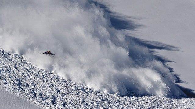 A skier in an avalanche.