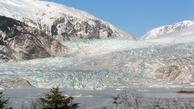 Mendenhall Glacier and frozen Mendenhall Lake.