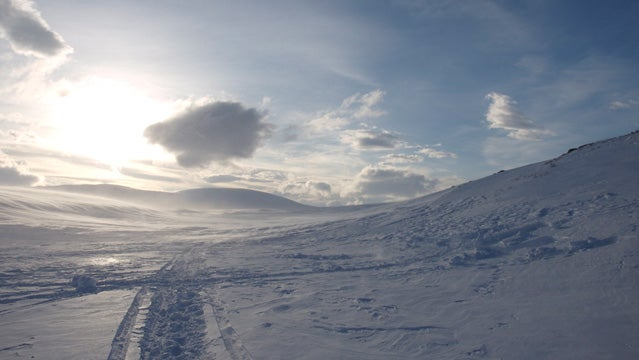 Skiing tracks in the mountains of Sarek, Sweden.