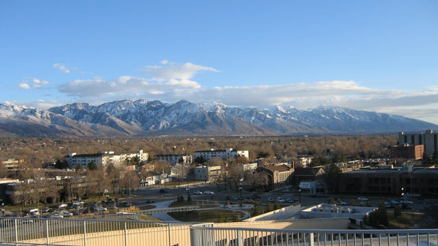 View of the Wasatch Range from the Salt Lake City Public Library.