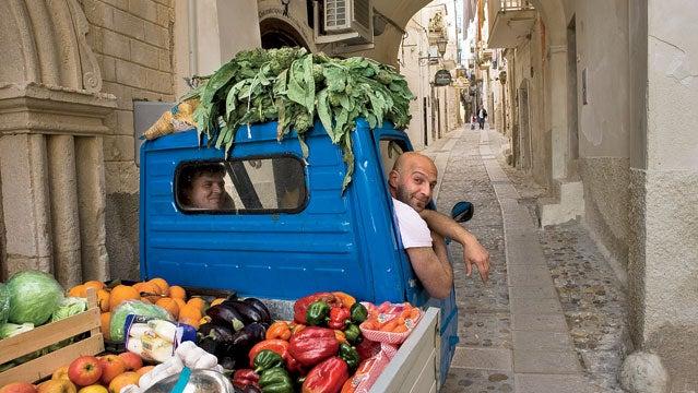 Apulia Europe Gargano Italy Puglia South Vieste fruit lane old seller town truck vegetables vendor EPIC CYCLING PASTA MAKING ADRIATIC BEACHES